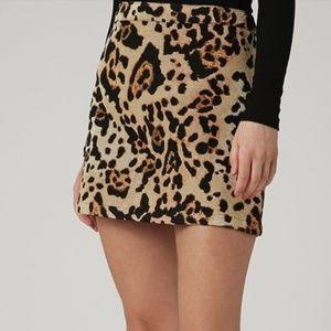 Topshop Jacquard Leopard Print Pelmet Skirt